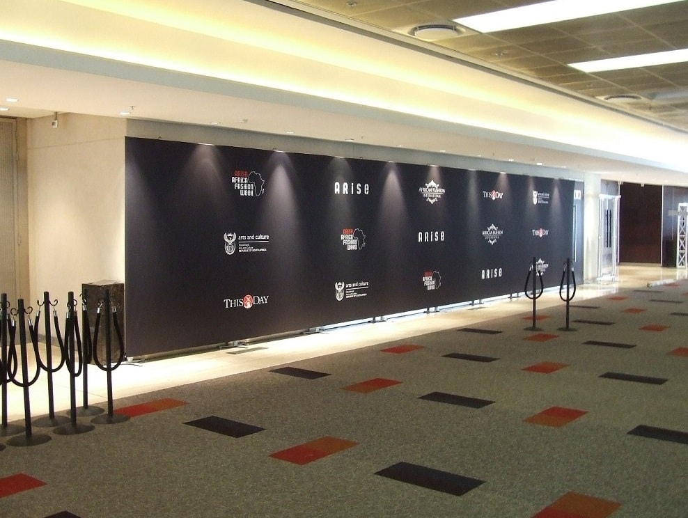 Step and repeat media wall at Africa Fashion Week