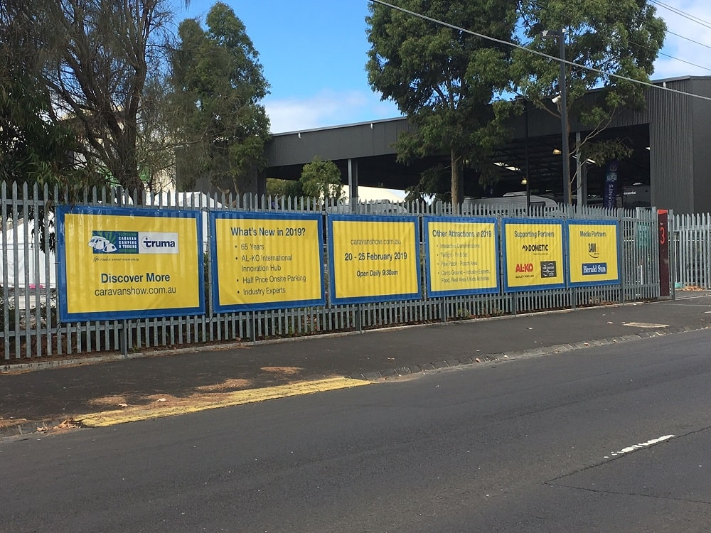 Fence banners to promote Victorian Caravan Supershow