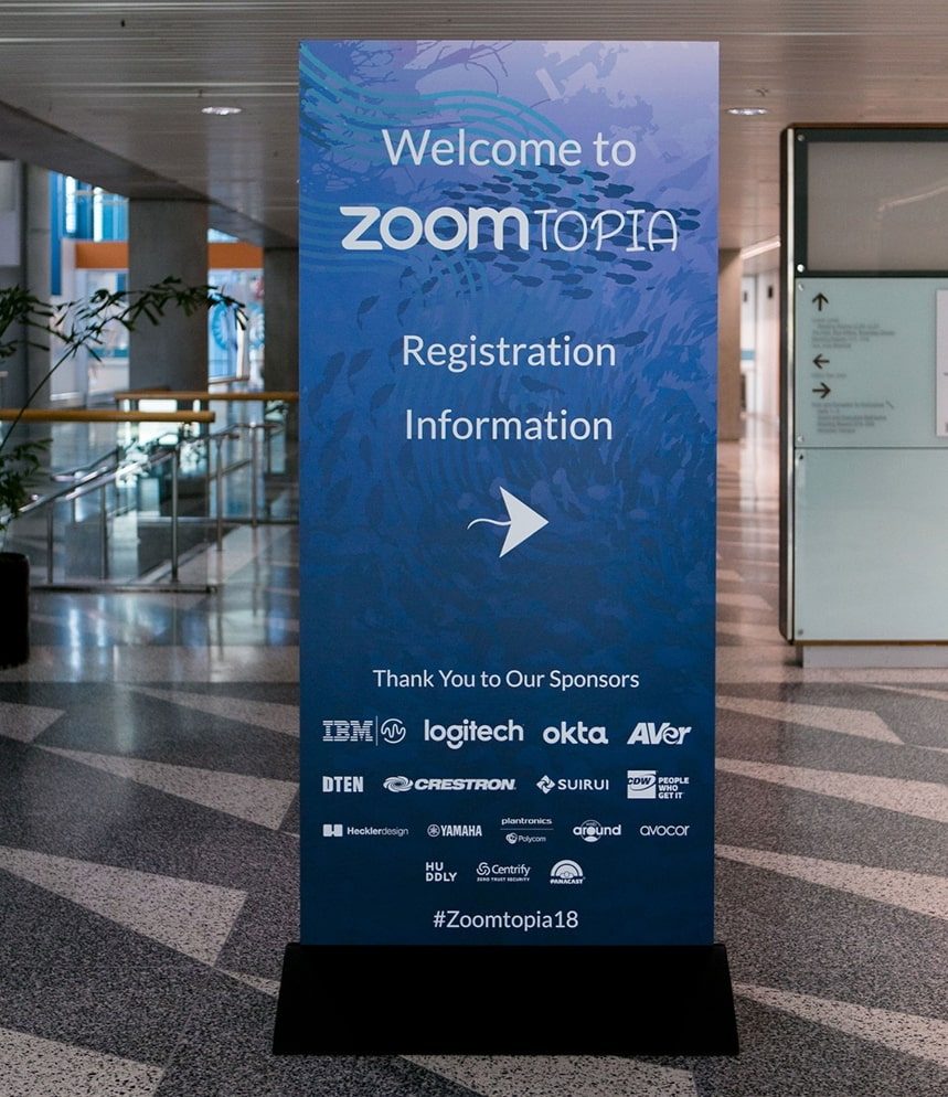 Directional signage at Zoomtopia 2018